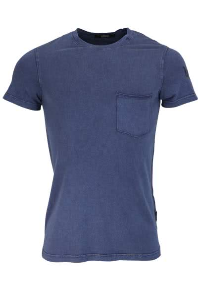 REPLAY Kurzarm T-Shirt Rundhals Brusttasche Used navy preisreduziert