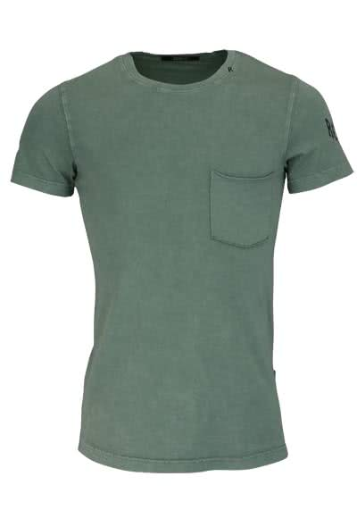 REPLAY Kurzarm T-Shirt Rundhals Brusttasche Used oliv