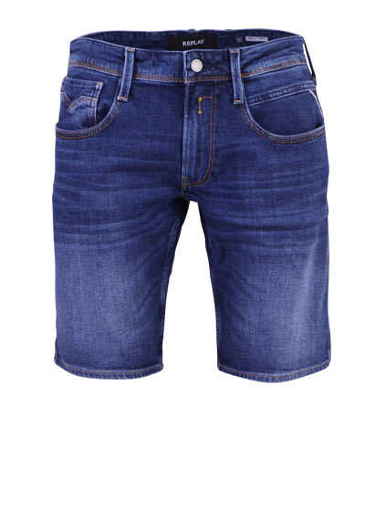 REPLAY Slim Fit Jeans-Shorts Used 5 Pocket Umschlag Ziernähte navy