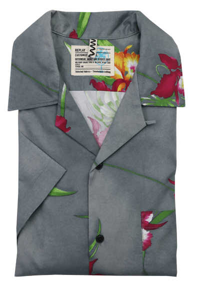 REPLAY Halbarm Hemd Kent Kragen Patch Brusttasche florales Design grau