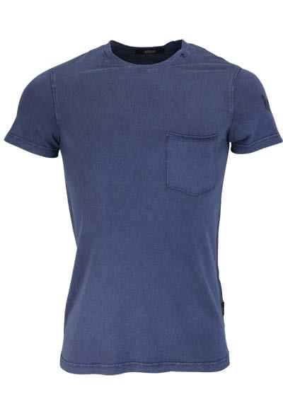 REPLAY Kurzarm T-Shirt Rundhals Brusttasche Used navy - Hemden Meister