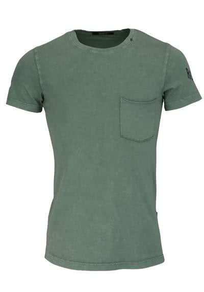 REPLAY Kurzarm T-Shirt Rundhals Brusttasche Used oliv - Hemden Meister