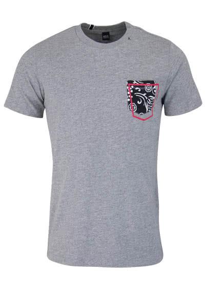 REPLAY Kurzarm T-Shirt Rundhals Brusttasche mittelgrau - Hemden Meister