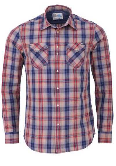 REPLAY Comfort Fit Hemd Langarm geknöpft Karo blau - Hemden Meister