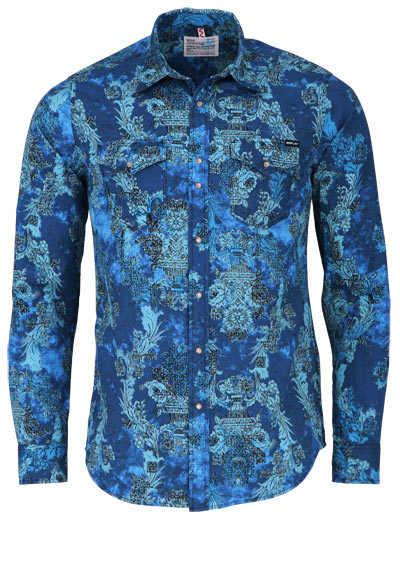 REPLAY Hemd Langarm Basic Kent Kragen Druckknöpfe Muster blau - Hemden Meister