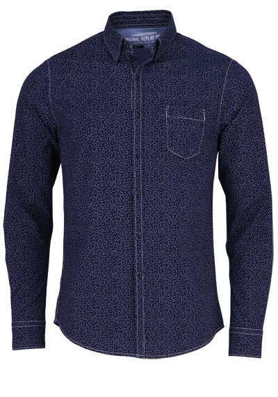 REPLAY Regular Fit Hemd Langarm Baumwolle Brusttasche Punkte blau - Hemden Meister