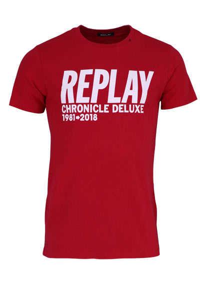 REPLAY Halbarm T-Shirt Rundhals Schrift-Print mittelrot - Hemden Meister