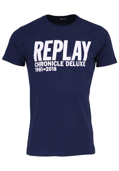 REPLAY Halbarm T-Shirt Rundhals Schrift-Print navy - Hemden Meister