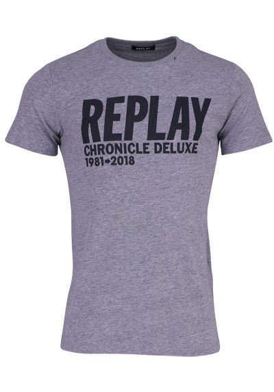 REPLAY Halbarm T-Shirt Rundhals Schrift-Print meliert mittelgrau - Hemden Meister