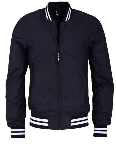 REPLAY Langarm Jacke Stehkragen Strickbündchen Zip-Taschen schwarz - Hemden Meister
