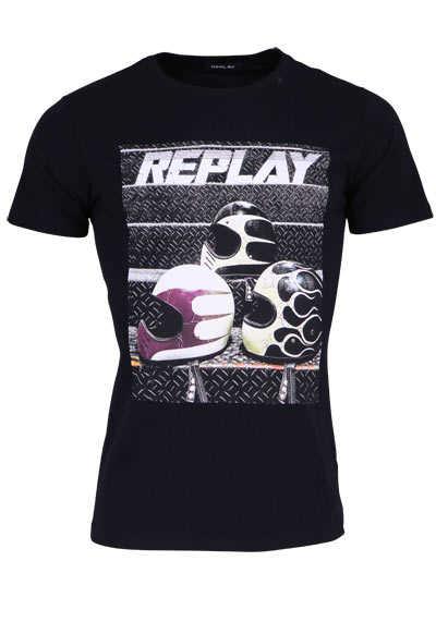 REPLAY Halbarm T-Shirt Rundhals Statement-Print Baumwolle schwarz - Hemden Meister