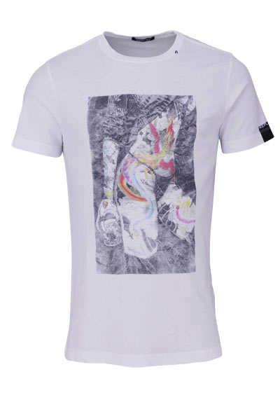 REPLAY Halbarm T-Shirt Rundhals Statement-Print weiß - Hemden Meister