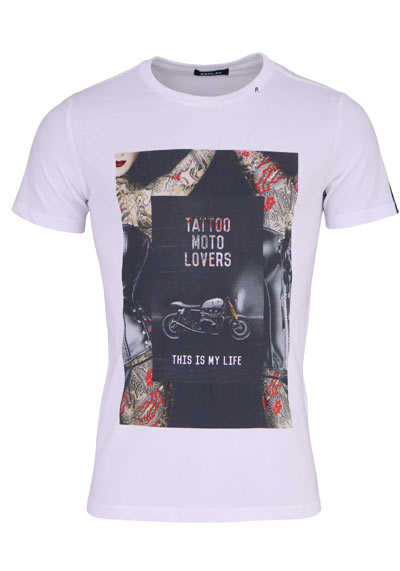 REPLAY Halbarm T-Shirt Rundhals Statement-Print Baumwolle weiß - Hemden Meister