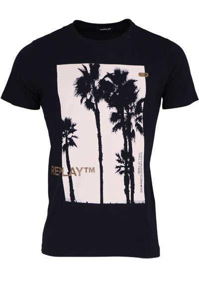 REPLAY Halbarm T-Shirt Rundhals Statement-Print Palmen schwarz - Hemden Meister