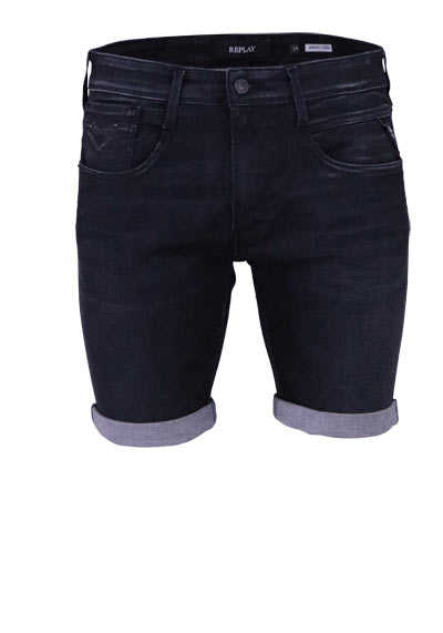 REPLAY Short Jeans 5 Pocket Destroy Used anthrazit - Hemden Meister