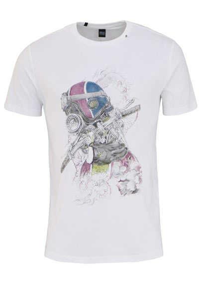REPLAY Rundhals T-Shirt Halbarm Statement-Print weiß - Hemden Meister
