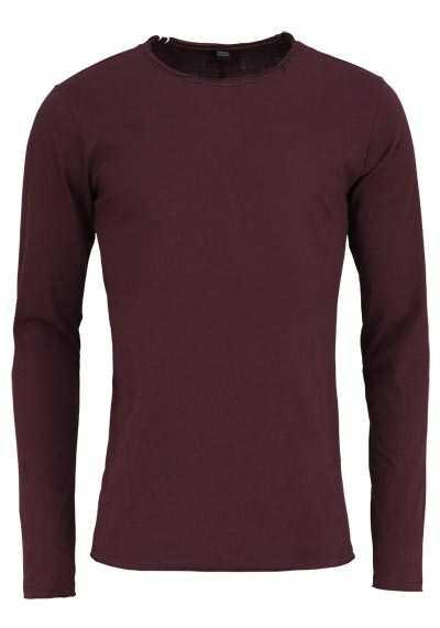 REPLAY Langarm Shirt Rundhals Logo-Detail Baumwolle weinrot - Hemden Meister