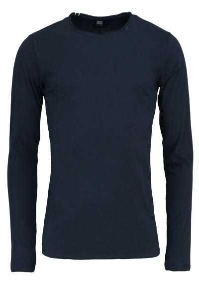 REPLAY Langarm Shirt Rundhals Logo-Detail Baumwolle nachtblau - Hemden Meister