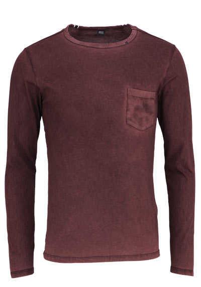 REPLAY Langarm Shirt Rundhals Brusttasche Baumwolle weinrot - Hemden Meister