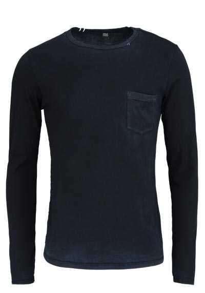 REPLAY Langarm Shirt Rundhals Brusttasche Baumwolle schwarz - Hemden Meister
