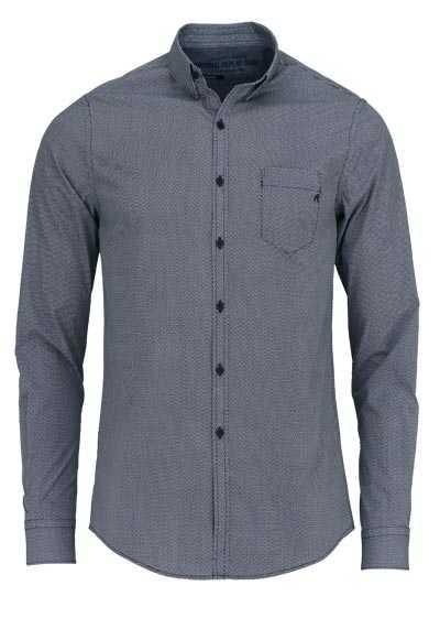 REPLAY Comfort Fit Hemd Langarm Under-Button-Down Muster dunkelblau - Hemden Meister