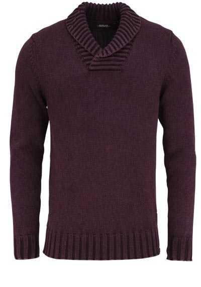 REPLAY Langarm Pullover Stehkragen Strick Baumwolle Uni aubergine - Hemden Meister