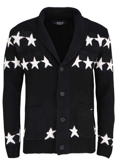 REPLAY Langarm Cardigan Reverskragen Strick Sterne Muster schwarz - Hemden Meister