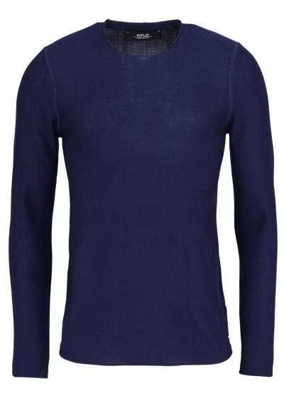 REPLAY Langarm Pullover Rundhals Feinstrick Comfort Fit dunkelblau - Hemden Meister