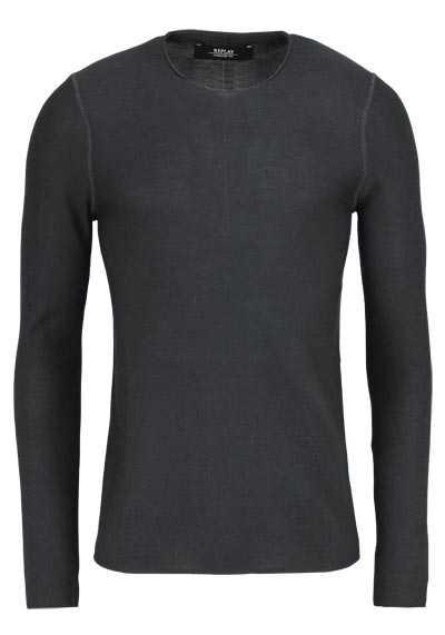 REPLAY Langarm Pullover Rundhals Feinstrick Comfort Fit graphit - Hemden Meister