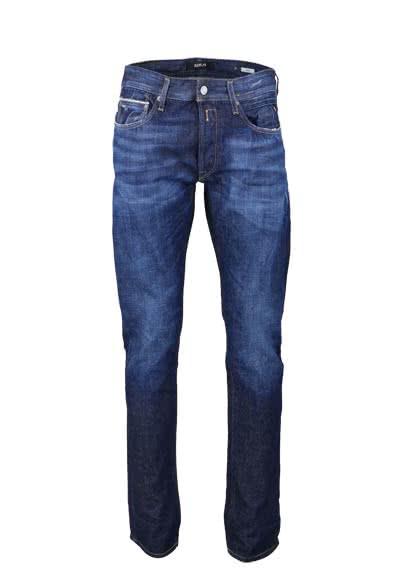 REPLAY Jeans RONAS Used Destroy Reißverschluss Ziernähte dunkelblau - Hemden Meister