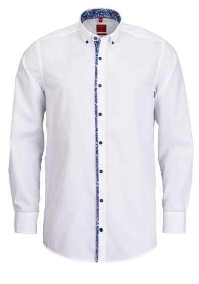 REDMOND Regular Fit Hemd Langarm Button Down Kragen weiß