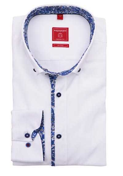 REDMOND Regular Fit Hemd Langarm Button Down Kragen weiß