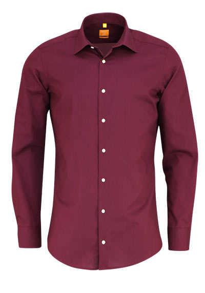 REDMOND Body Cut Hemd Langarm New Kent Kragen weinrot - Hemden Meister