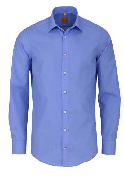 REDMOND Body Cut Hemd Langarm New Kent Kragen mittelblau - Hemden Meister