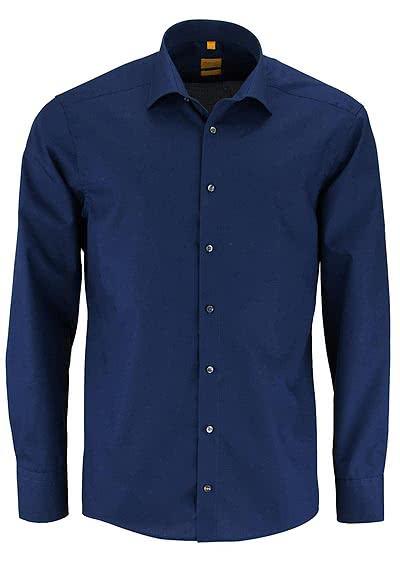 REDMOND Body Cut Hemd Langarm New Kent Kragen dunkelblau