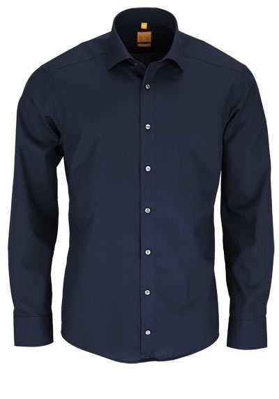 REDMOND Body Cut Hemd Langarm New Kent Kragen nachtblau - Hemden Meister