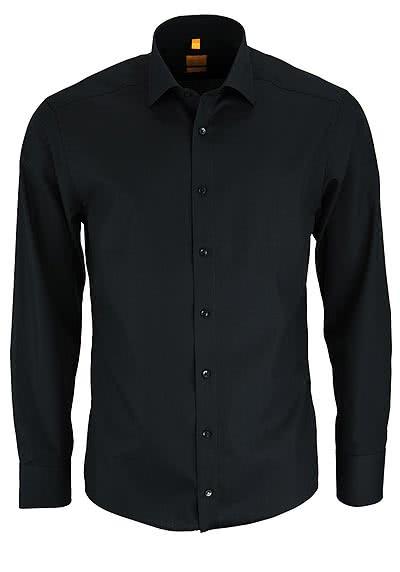 REDMOND Body Cut Hemd Langarm New Kent Kragen schwarz