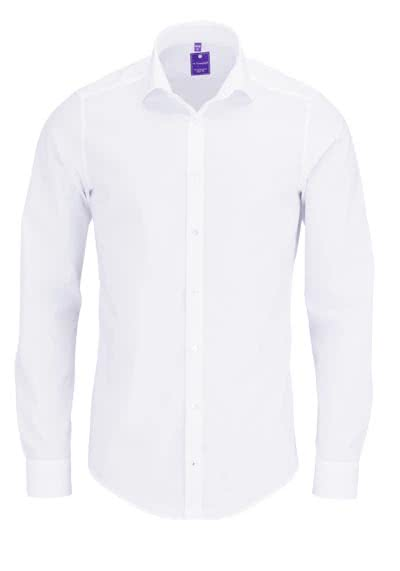 REDMOND 4 Limited Hemd Langarm Popeline Stretch weiß