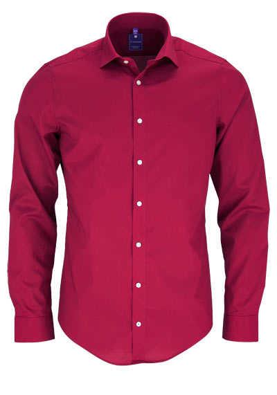 REDMOND 4 Limited Hemd Langarm Popeline Stretch rot - Hemden Meister