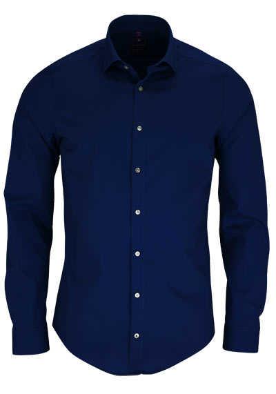 REDMOND 4 Limited Hemd Langarm Popeline Stretch dunkelblau