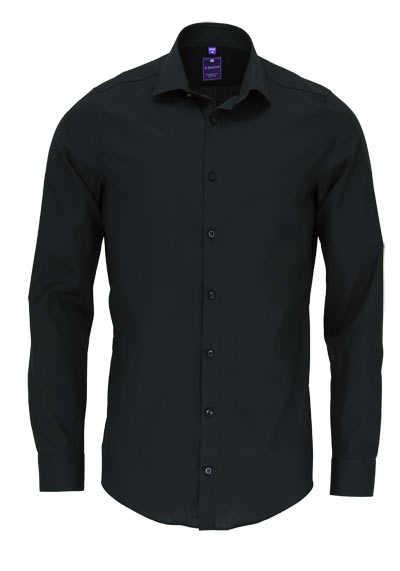 REDMOND 4 Limited Hemd Langarm Popeline Stretch schwarz