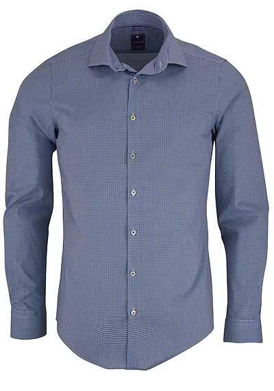 REDMOND 4 Limited Hemd Langarm Karo Stretch blau - Hemden Meister