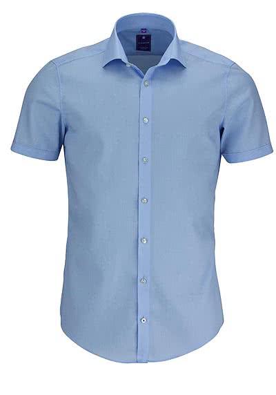 REDMOND 4 Limited Hemd Halbarm Popeline Stretch hellblau - Hemden Meister