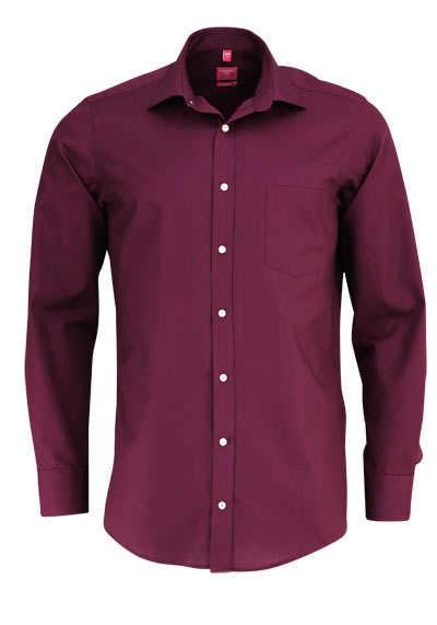 REDMOND Office Hemd Langarm mit New Kent Kragen weinrot - Hemden Meister