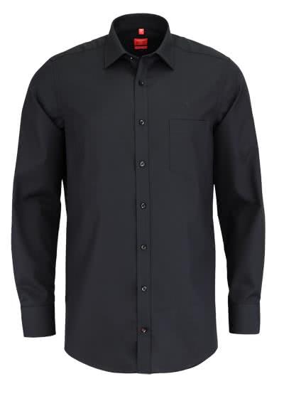 REDMOND Office Hemd Langarm mit New Kent Kragen schwarz
