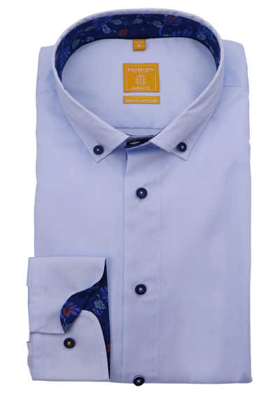 REDMOND Modern Fit Hemd Langarm Button Down Kragen hellblau