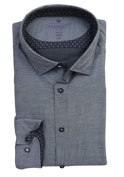 REDMOND Slim Fit Herrenhemd Langarm New Kent Kragen grau