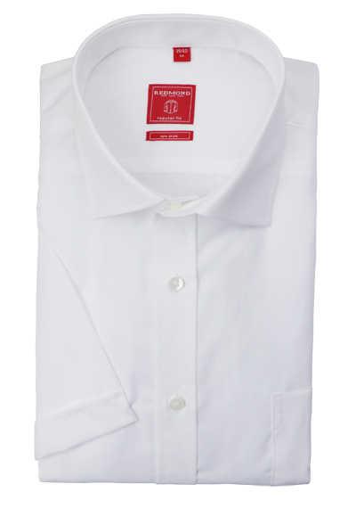 REDMOND Regular Fit Hemd Kurzarm New Kent Kragen bügelfreie weiß
