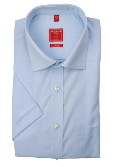 REDMOND Regular Fit Hemd Kurzarm New Kent Kragen bügelfreie hellblau