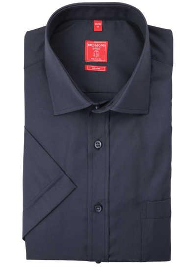REDMOND Regular Fit Hemd Kurzarm New Kent Kragen bügelfreie dunkelgrau